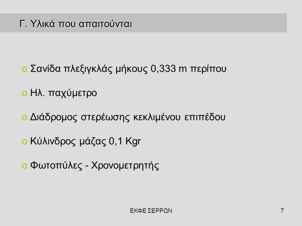 7 Γ. Υλικά που απαιτούνται Γ. Υλικά που απαιτούνται o Σανίδα πλεξιγκλάς µήκους 0,333 m περίπου o Ηλ. παχύμετρο o Διάδρομος στερέωσης κεκλιμένου επιπέδ