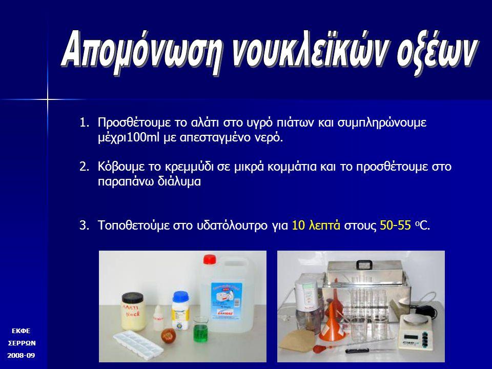 ΕΚΦΕ ΣΕΡΡΩΝ 2008-09 1.Προσθέτουμε το αλάτι στο υγρό πιάτων και συμπληρώνουμε μέχρι100ml με απεσταγμένο νερό. 2.Κόβουμε το κρεμμύδι σε μικρά κομμάτια κ