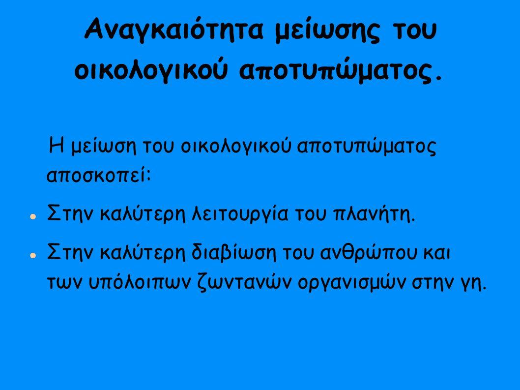 Για το Θεωρητικό μέρος αντλήσαμε πληροφορίες από ιστοσελίδες όπως: http://climate.wwf.gr http://www.ecologicalfootprint.com http://epp.eurostat.ec.europa.eu http://kpe-kastor.kas.sch.gr/peekpe/proceedings/synedria_10_ereunes/Hovardas_Korfiatis.pdf Και βιβλία με οικολογικό περιεχόμενο.