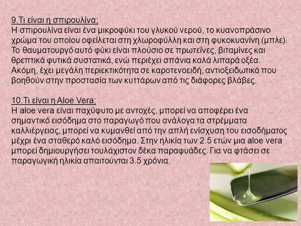 9.Τι είναι η σπιρουλίνα; Η σπιρουλίνα είναι ένα μικροφύκι του γλυκού νερού, το κυανοπράσινο χρώμα του οποίου οφείλεται στη χλωροφύλλη και στη φυκοκυανίνη (μπλε).