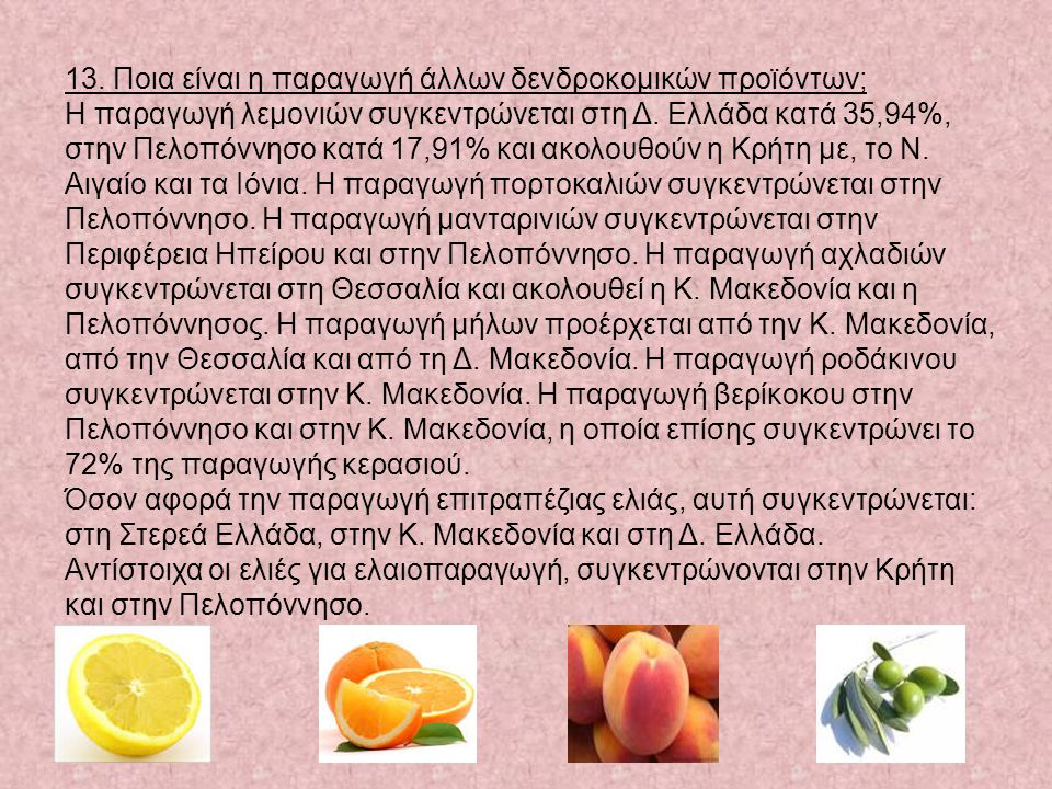 13. Ποια είναι η παραγωγή άλλων δενδροκομικών προϊόντων; Η παραγωγή λεμονιών συγκεντρώνεται στη Δ. Ελλάδα κατά 35,94%, στην Πελοπόννησο κατά 17,91% κα