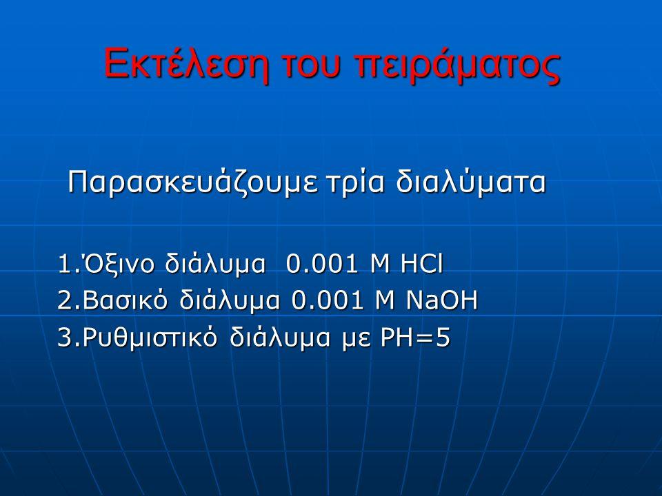 Παρασκευή όξινου διαλύματος 0.001M HCI Στην ογκομετρική φιάλη των 100 ml μεταφέρονται με σιφώνιο 25 ml από το πρότυπο διάλυμα του 0.1Μ και αραιώνονται στα 100 ml.Το νέο διάλυμα είναι 0.001Μ και έχει ΡΗ=3.