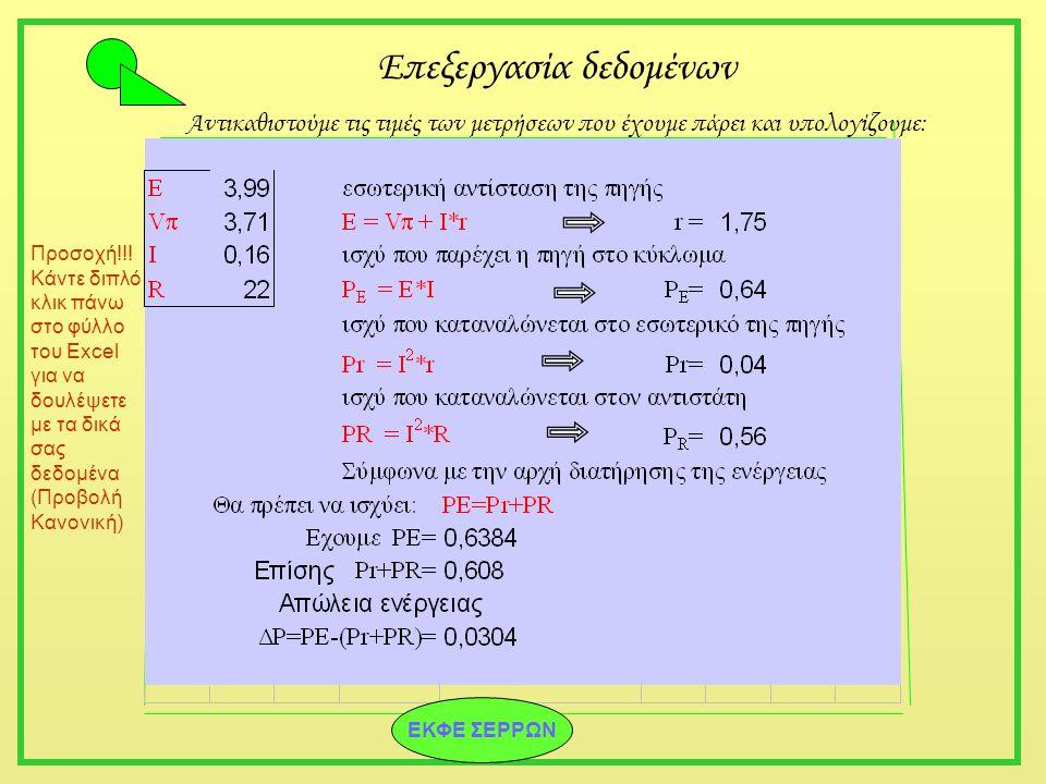 Επεξεργασία δεδομένων Αντικαθιστούμε τις τιμές των μετρήσεων που έχουμε πάρει και υπολογίζουμε: Προσοχή!!! Κάντε διπλό κλικ πάνω στο φύλλο του Excel γ