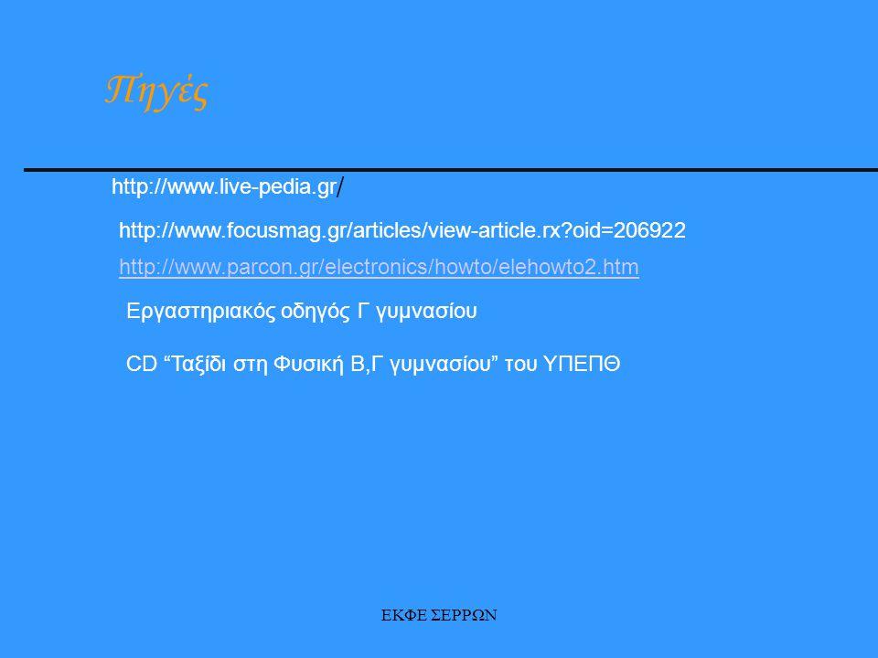 ΕΚΦΕ ΣΕΡΡΩΝ http://www.parcon.gr/electronics/howto/elehowto2.htm http://www.live-pedia.gr / http://www.focusmag.gr/articles/view-article.rx?oid=206922