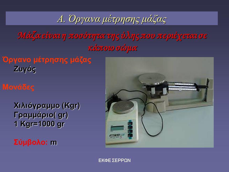 ΕΚΦΕ ΣΕΡΡΩΝ Α. Όργανα μέτρησης μάζας Όργανο μέτρησης μάζαςΖυγός Μονάδες Χιλιόγραμμο (Kgr) Γραμμάριο( gr) 1 Kgr=1000 gr m Σύμβολο: m Μάζα είναι η ποσότ
