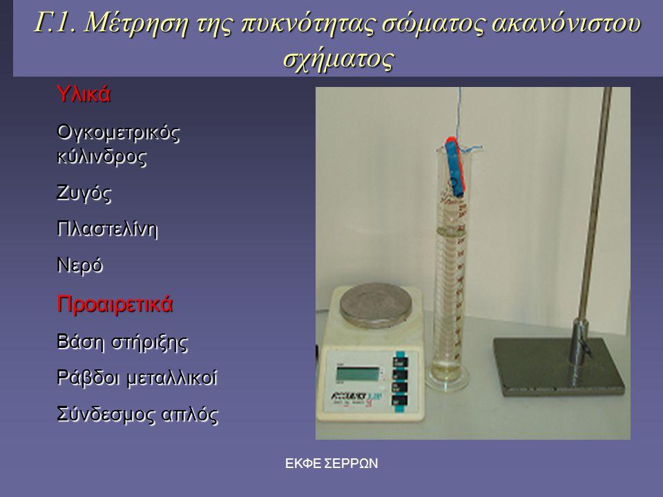 ΕΚΦΕ ΣΕΡΡΩΝ Γ.1. Μέτρηση της πυκνότητας σώματος ακανόνιστου σχήματος Υλικά Ογκομετρικός κύλινδρος ΖυγόςΠλαστελίνηΝερόΠροαιρετικά Βάση στήριξης Ράβδοι