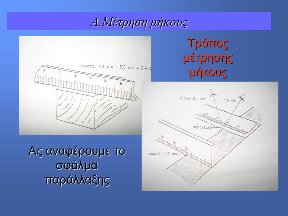 Aς αναφέρουμε το σφάλμα παράλλαξης Τρόπος μέτρησης μήκους A.Μέτρηση μήκους