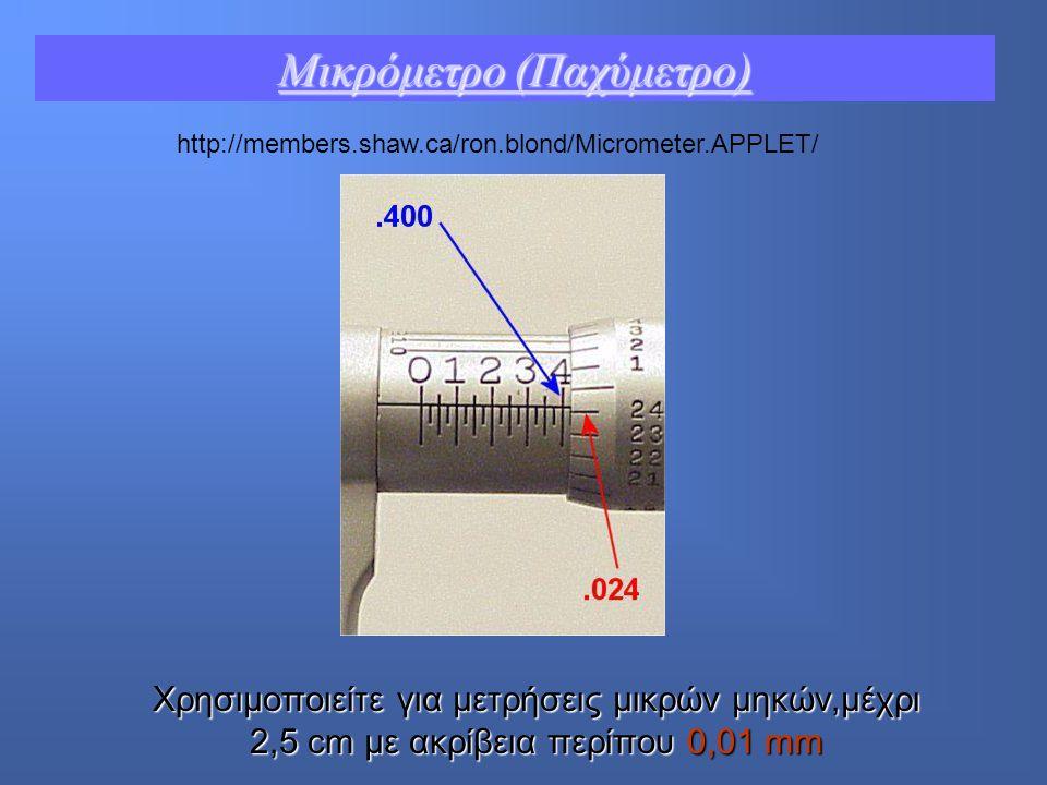 http://members.shaw.ca/ron.blond/Micrometer.APPLET/ Μικρόμετρο (Παχύμετρο) Μικρόμετρο (Παχύμετρο) Χρησιμοποιείτε για μετρήσεις μικρών μηκών,μέχρι 2,5 cm με ακρίβεια περίπου 0,01 mm