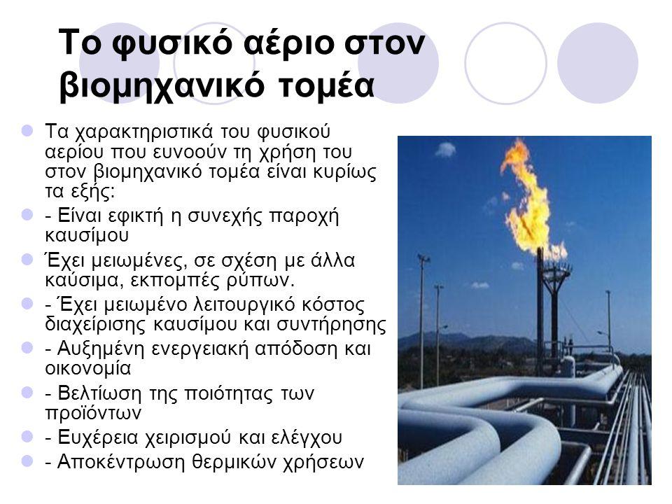 Το φυσικό αέριο στον βιομηχανικό τομέα Τα χαρακτηριστικά του φυσικού αερίου που ευνοούν τη χρήση του στον βιομηχανικό τομέα είναι κυρίως τα εξής: - Εί