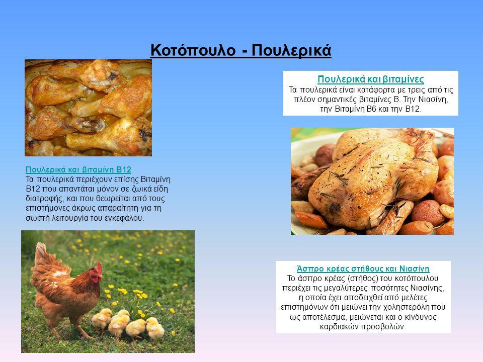 Κοτόπουλο - Πουλερικά Πουλερικά και βιταμίνες Τα πουλερικά είναι κατάφορτα με τρεις από τις πλέον σημαντικές βιταμίνες Β. Την Νιασίνη, την Βιταμίνη Β6