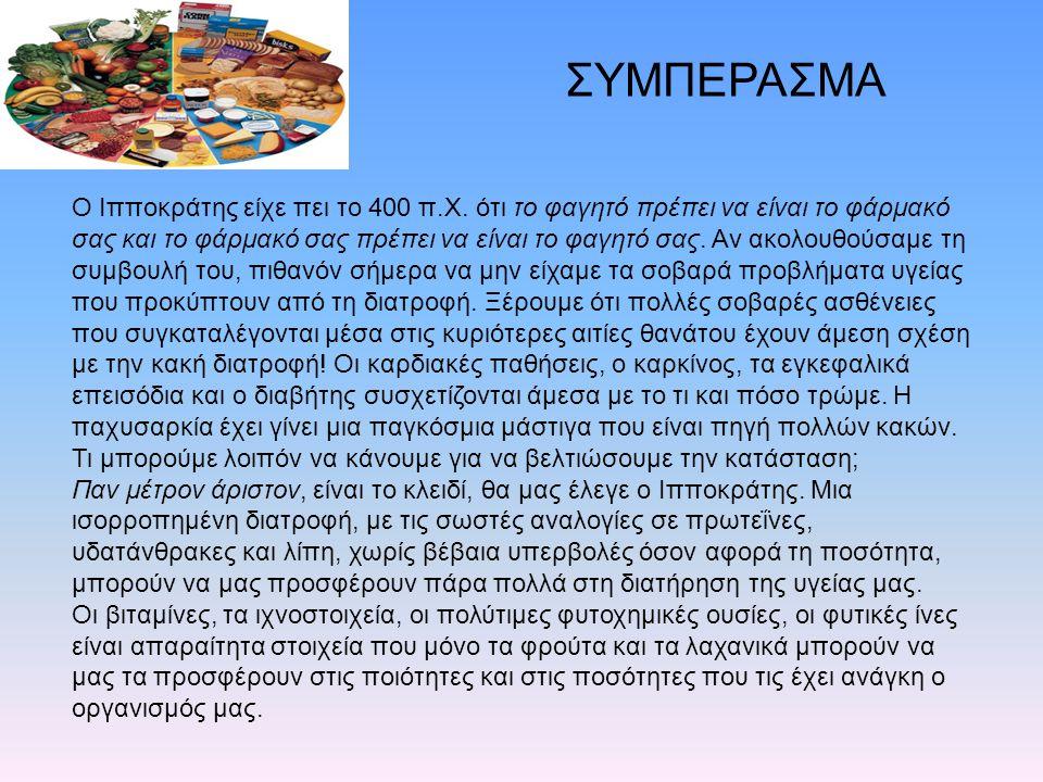 O Ιπποκράτης είχε πει το 400 π.Χ. ότι το φαγητό πρέπει να είναι το φάρμακό σας και το φάρμακό σας πρέπει να είναι το φαγητό σας. Αν ακολουθούσαμε τη σ