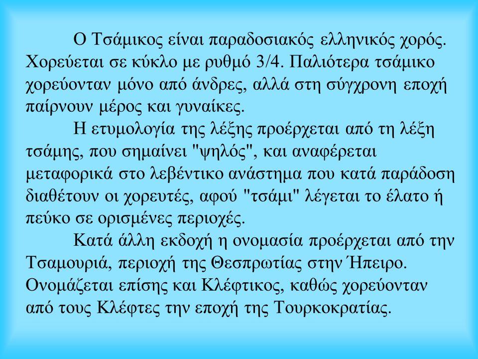 Ο Τσάμικος είναι παραδοσιακός ελληνικός χορός. Χορεύεται σε κύκλο με ρυθμό 3/4. Παλιότερα τσάμικο χορεύονταν μόνο από άνδρες, αλλά στη σύγχρονη εποχή