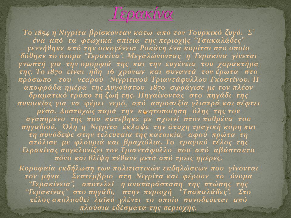 """Το 1854 η Νιγρίτα βρίσκονταν κάτω από τον Τουρκικό ζυγό. Σ' ένα από τα φτωχικά σπίτια της περιοχής """"Τσακαλάδες"""" γεννήθηκε από την οικογένεια Ροκάνη έν"""