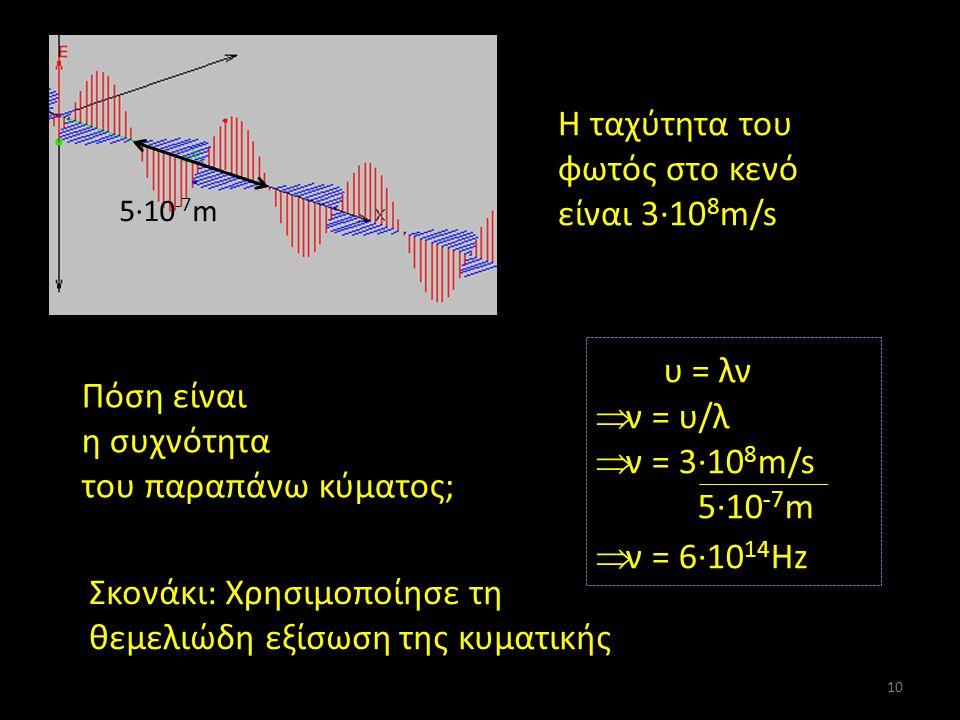 Και τώρα λίγους υπολογισμούς … Η ταχύτητα του φωτός στο κενό είναι 3·10 8 m/s 5·10 -7 m Πόση είναι η συχνότητα του παραπάνω κύματος; Σκονάκι: Χρησιμοποίησε τη θεμελιώδη εξίσωση της κυματικής υ = λν  ν = υ/λ = 3·10 8 m/s 5·10 -7 m = 6·10 14 Hz 10