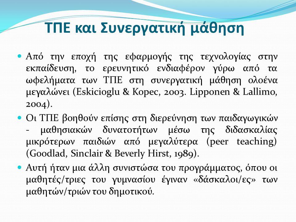 ΤΠΕ και Συνεργατική μάθηση Από την εποχή της εφαρμογής της τεχνολογίας στην εκπαίδευση, το ερευνητικό ενδιαφέρον γύρω από τα ωφελήματα των ΤΠΕ στη συν