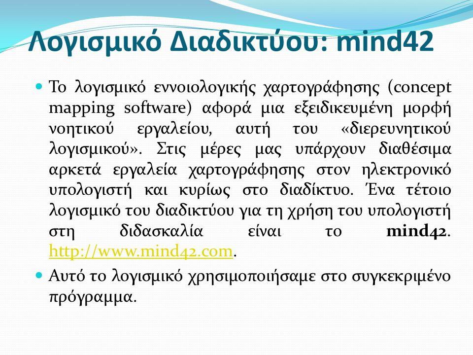 Λογισμικό Διαδικτύου: mind42 Το λογισμικό εννοιολογικής χαρτογράφησης (concept mapping software) αφορά μια εξειδικευμένη μορφή νοητικού εργαλείου, αυτ