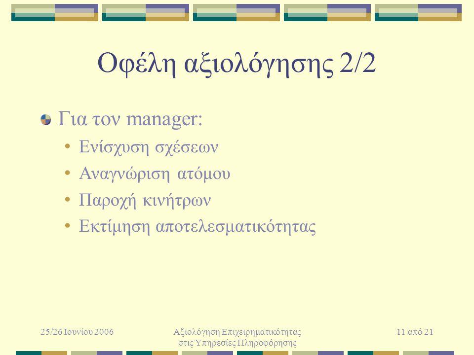 25/26 Ιουνίου 2006Αξιολόγηση Επιχειρηματικότητας στις Υπηρεσίες Πληροφόρησης 11 από 21 Οφέλη αξιολόγησης 2/2 Για τον manager: Ενίσχυση σχέσεων Αναγνώριση ατόμου Παροχή κινήτρων Εκτίμηση αποτελεσματικότητας