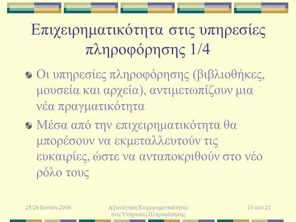 25/26 Ιουνίου 2006Αξιολόγηση Επιχειρηματικότητας στις Υπηρεσίες Πληροφόρησης 13 από 21 Επιχειρηματικότητα στις υπηρεσίες πληροφόρησης 1/4 Οι υπηρεσίες πληροφόρησης (βιβλιοθήκες, μουσεία και αρχεία), αντιμετωπίζουν μια νέα πραγματικότητα Μέσα από την επιχειρηματικότητα θα μπορέσουν να εκμεταλλευτούν τις ευκαιρίες, ώστε να ανταποκριθούν στο νέο ρόλο τους