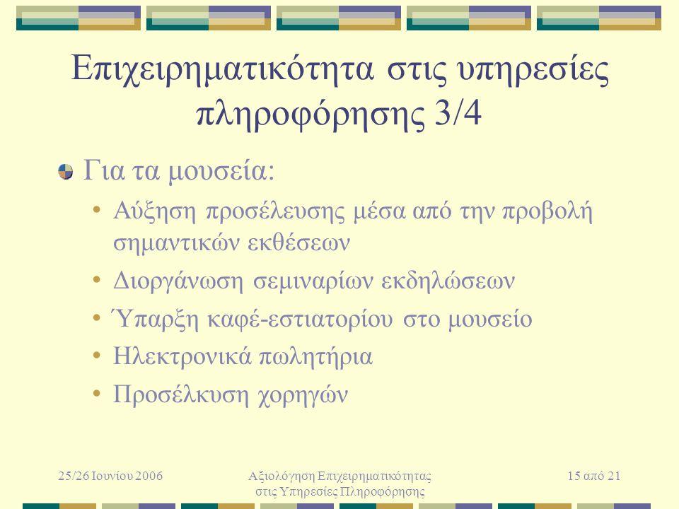 25/26 Ιουνίου 2006Αξιολόγηση Επιχειρηματικότητας στις Υπηρεσίες Πληροφόρησης 15 από 21 Επιχειρηματικότητα στις υπηρεσίες πληροφόρησης 3/4 Για τα μουσε