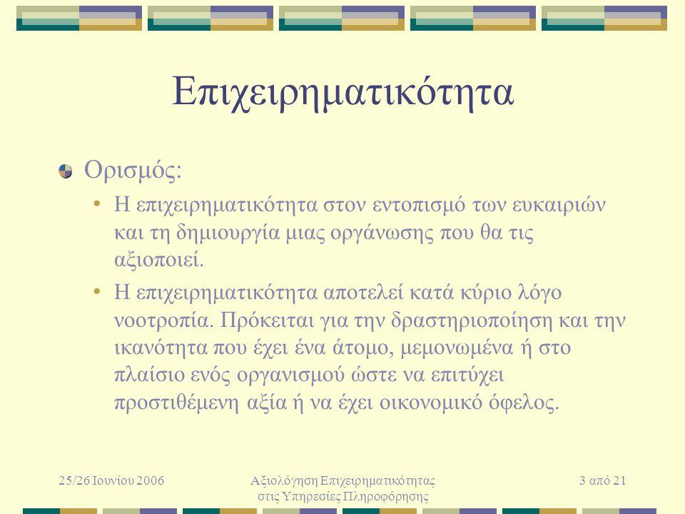 25/26 Ιουνίου 2006Αξιολόγηση Επιχειρηματικότητας στις Υπηρεσίες Πληροφόρησης 3 από 21 Επιχειρηματικότητα Ορισμός: Η επιχειρηματικότητα στον εντοπισμό