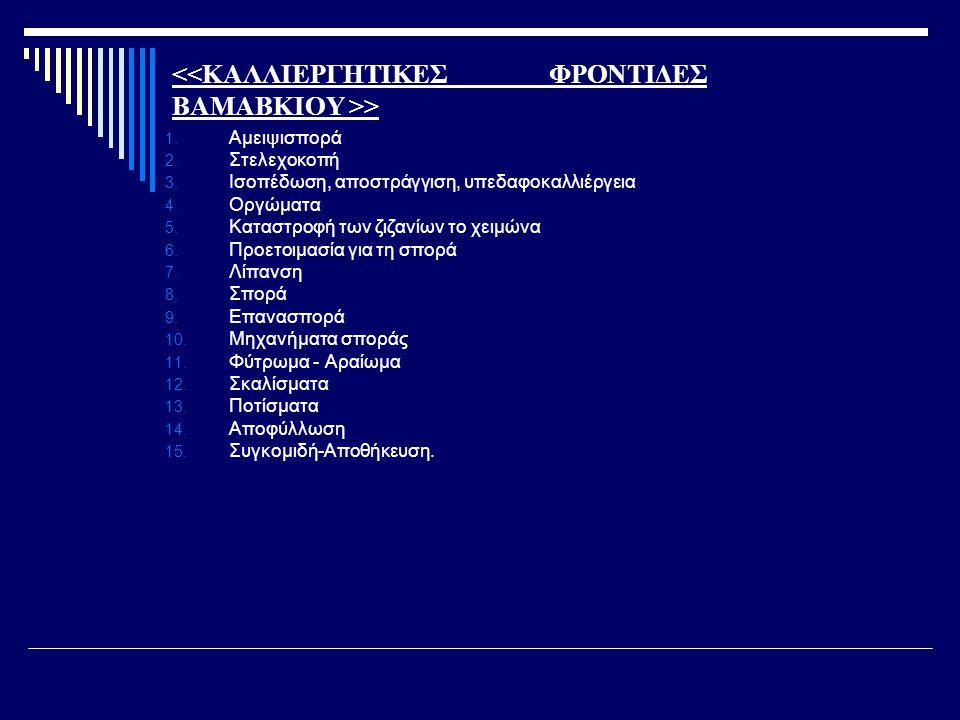 > 1. Αμειψισπορά 2. Στελεχοκοπή 3. Ισοπέδωση, αποστράγγιση, υπεδαφοκαλλιέργεια 4. Οργώματα 5. Καταστροφή των ζιζανίων το χειμώνα 6. Προετοιμασία για τ