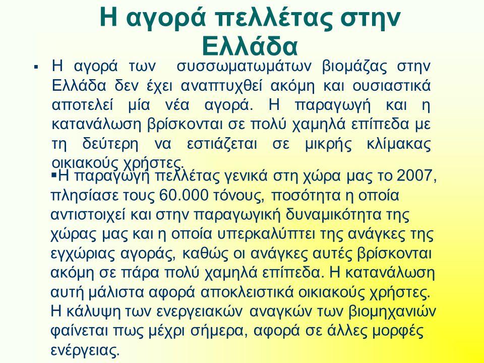 Η αγορά πελλέτας στην Ελλάδα  Η αγορά των συσσωματωμάτων βιομάζας στην Ελλάδα δεν έχει αναπτυχθεί ακόμη και ουσιαστικά αποτελεί μία νέα αγορά. Η παρα