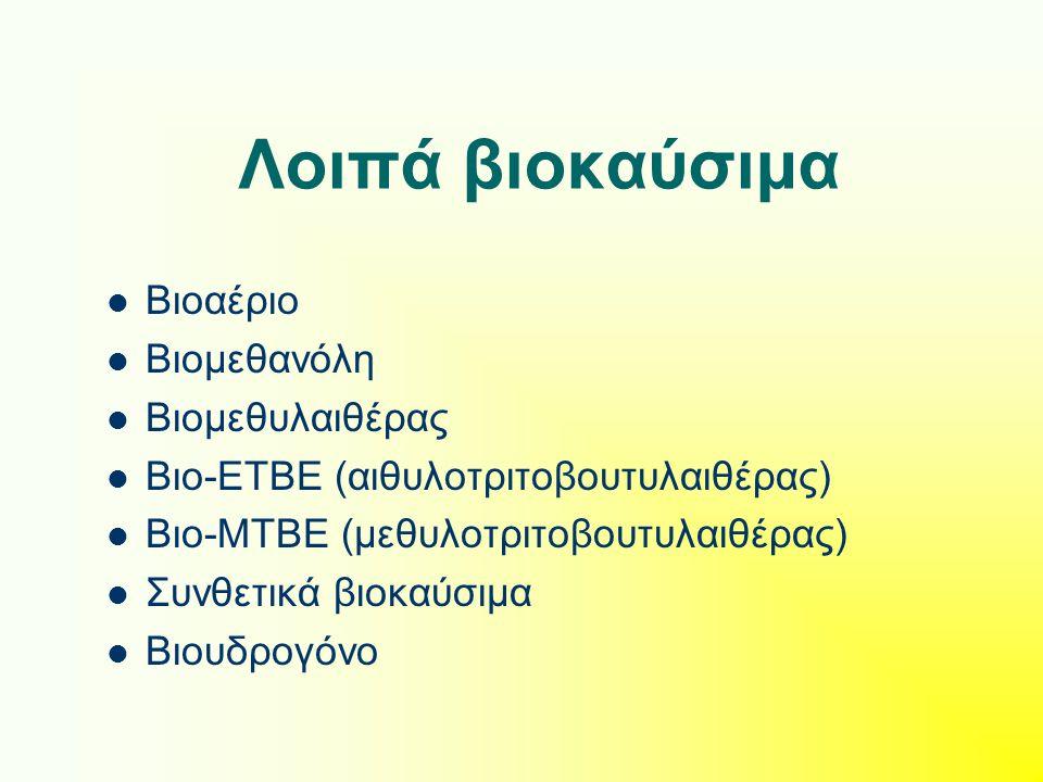 Λοιπά βιοκαύσιμα Βιοαέριο Βιομεθανόλη Βιομεθυλαιθέρας Βιο-ΕΤΒΕ (αιθυλοτριτοβουτυλαιθέρας) Βιο-ΜΤΒΕ (μεθυλοτριτοβουτυλαιθέρας) Συνθετικά βιοκαύσιμα Βιουδρογόνο