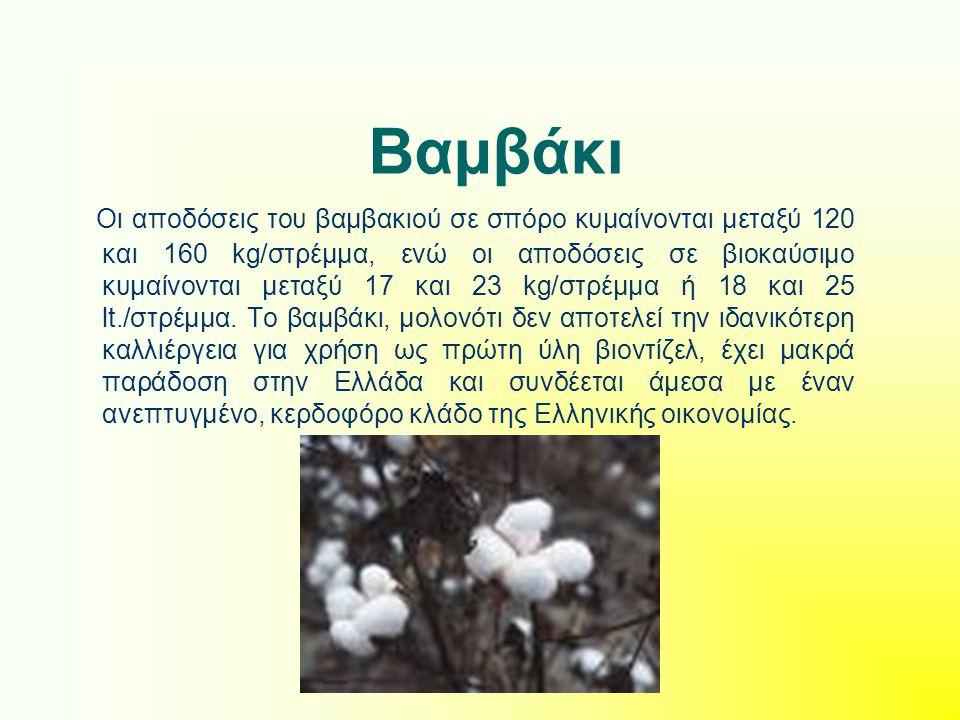 Βαμβάκι Οι αποδόσεις του βαμβακιού σε σπόρο κυμαίνονται μεταξύ 120 και 160 kg/στρέμμα, ενώ οι αποδόσεις σε βιοκαύσιμο κυμαίνονται μεταξύ 17 και 23 kg/στρέμμα ή 18 και 25 lt./στρέμμα.