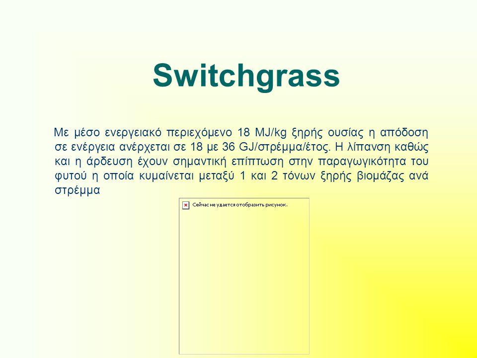 Switchgrass Με μέσο ενεργειακό περιεχόμενο 18 MJ/kg ξηρής ουσίας η απόδοση σε ενέργεια ανέρχεται σε 18 με 36 GJ/στρέμμα/έτος. Η λίπανση καθώς και η άρ