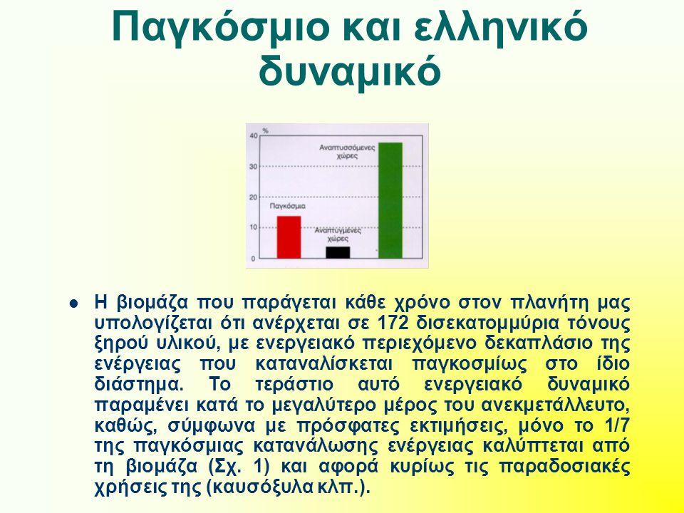 Παγκόσμιο και ελληνικό δυναμικό Η βιομάζα που παράγεται κάθε χρόνο στον πλανήτη μας υπολογίζεται ότι ανέρχεται σε 172 δισεκατομμύρια τόνους ξηρού υλικ