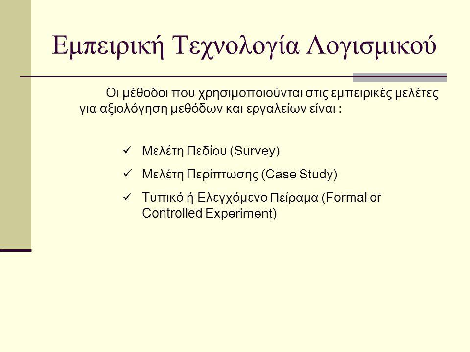 Εμπειρική Τεχνολογία Λογισμικού Οι μέθοδοι που χρησιμοποιούνται στις εμπειρικές μελέτες για αξιολόγηση μεθόδων και εργαλείων είναι : Μελέτη Πεδίου (Survey) Μελέτη Περίπτωσης (Case Study) Τυπικό ή Ελεγχόμενο Πείραμα ( Formal or Controlled Experiment)