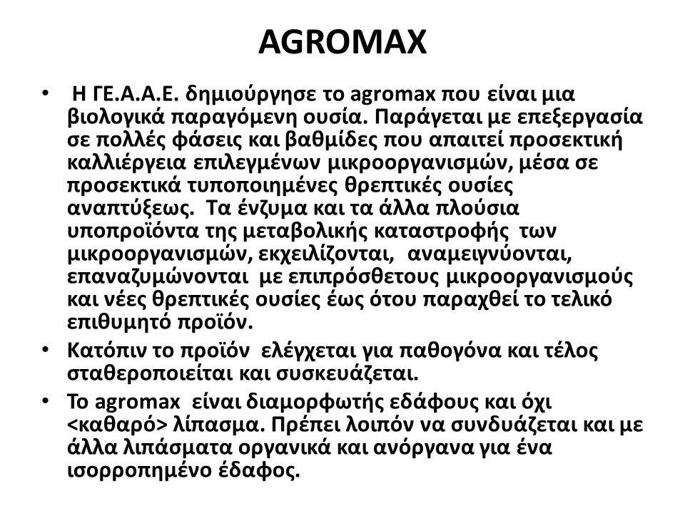 AGROMAX H ΓΕ.Α.Α.Ε. δημιούργησε το agromax που είναι μια βιολογικά παραγόμενη ουσία. Παράγεται με επεξεργασία σε πολλές φάσεις και βαθμίδες που απαιτε