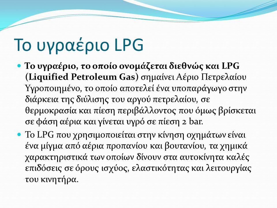 Χαρακτηριστικά του LPG Το LPG, το υγροποιημένο βουτάνιο που περιέχεται στις γνωστές φιάλες camping gaz και το φωταέριο το οποίο αποτελείται από υγροποιημένα αέρια, προερχόμενα από απόσταξη λιθάνθρακα είναι γνωστοί τύποι υγραερίων.