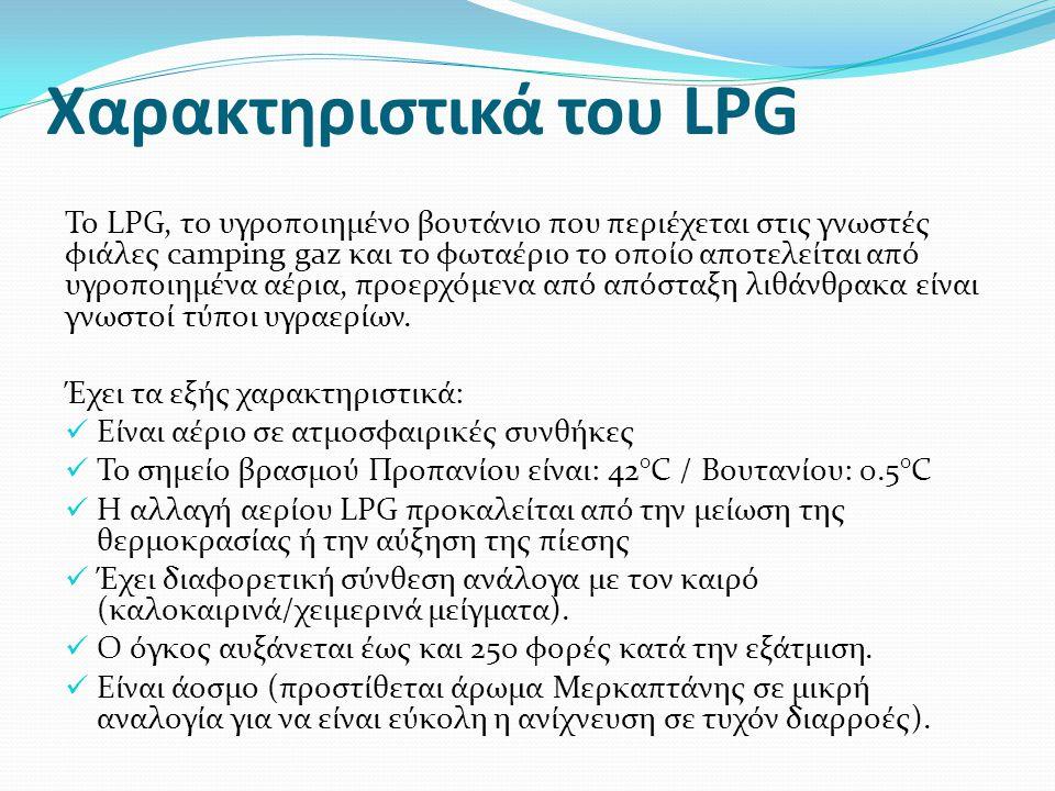 Χαρακτηριστικά του LPG Το LPG, το υγροποιημένο βουτάνιο που περιέχεται στις γνωστές φιάλες camping gaz και το φωταέριο το οποίο αποτελείται από υγροπο