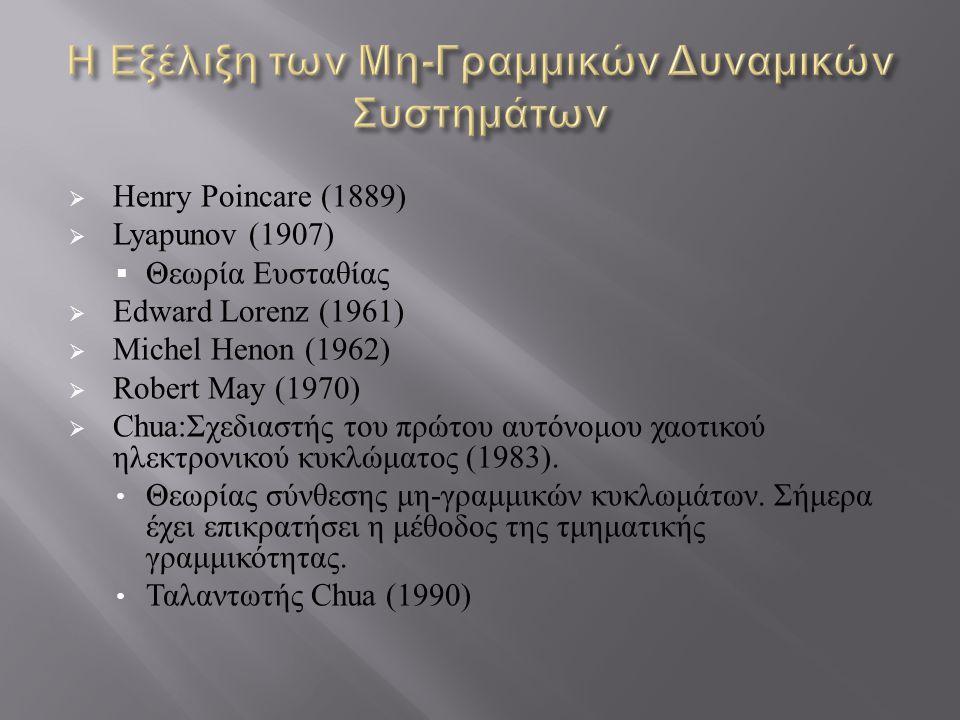  Henry Poincare (1889)  Lyapunov (1907)  Θεωρία Ευσταθίας  Edward Lorenz (1961)  Michel Henon (1962)  Robert May (1970)  Chua:Σχεδιαστής του πρώτου αυτόνομου χαοτικού ηλεκτρονικού κυκλώματος (1983).