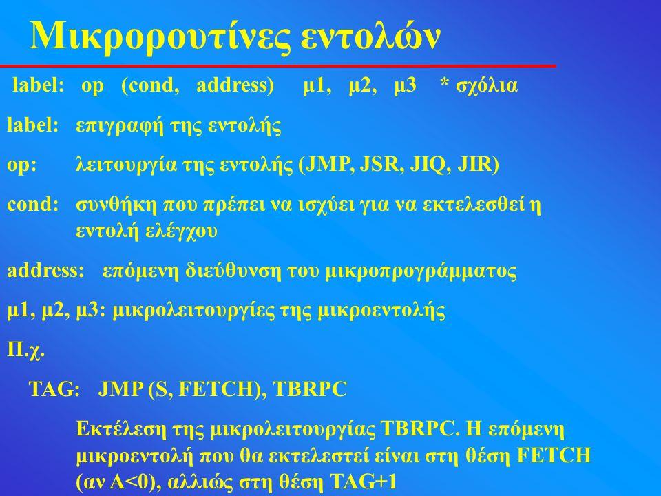 Μικρορουτίνες εντολών label: op (cond, address) μ1, μ2, μ3 * σχόλια label:επιγραφή της εντολής op:λειτουργία της εντολής (JMP, JSR, JIQ, JIR) cond:συνθήκη που πρέπει να ισχύει για να εκτελεσθεί η εντολή ελέγχου address: επόμενη διεύθυνση του μικροπρογράμματος μ1, μ2, μ3: μικρολειτουργίες της μικροεντολής Π.χ.
