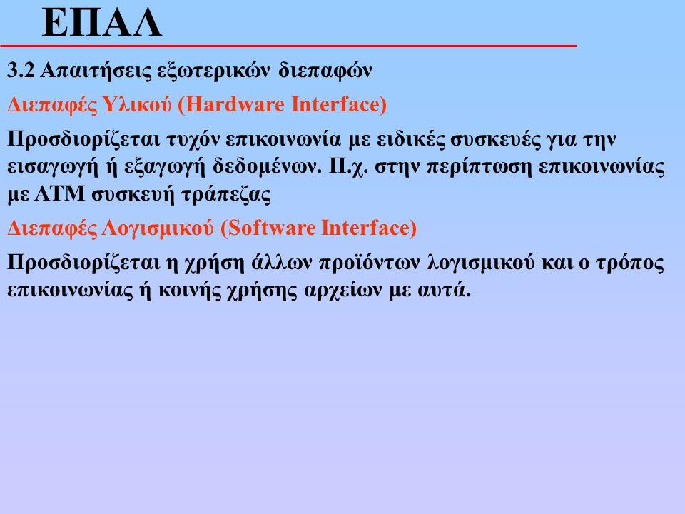 ΕΠΑΛ 3.2 Απαιτήσεις εξωτερικών διεπαφών Διεπαφές Υλικού (Hardware Interface) Προσδιορίζεται τυχόν επικοινωνία με ειδικές συσκευές για την εισαγωγή ή ε