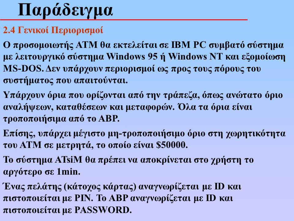 Παράδειγμα 2.4 Γενικοί Περιορισμοί Ο προσομοιωτής ATM θα εκτελείται σε IBM PC συμβατό σύστημα με λειτουργικό σύστημα Windows 95 ή Windows NT και εξομο