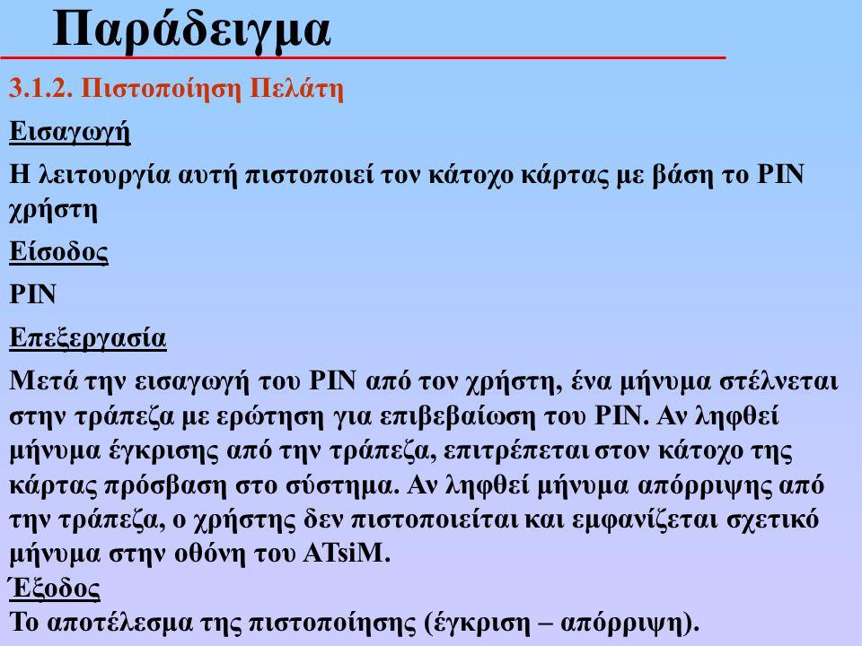 Παράδειγμα 3.1.2. Πιστοποίηση Πελάτη Εισαγωγή Η λειτουργία αυτή πιστοποιεί τον κάτοχο κάρτας με βάση το PIN χρήστη Είσοδος PIN Επεξεργασία Μετά την ει