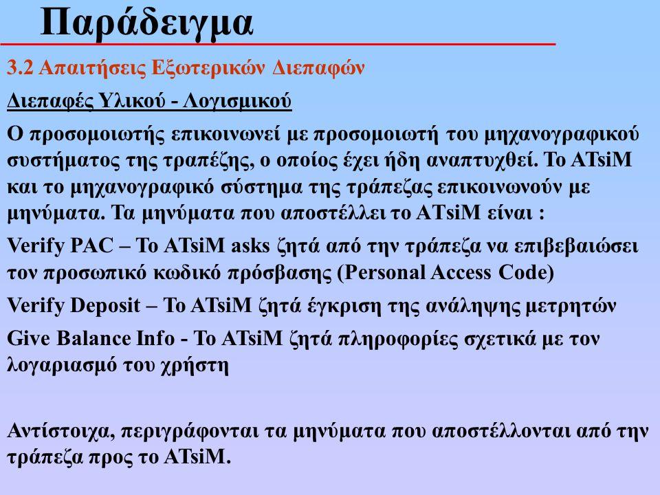 Παράδειγμα 3.2 Απαιτήσεις Εξωτερικών Διεπαφών Διεπαφές Υλικού - Λογισμικού Ο προσομοιωτής επικοινωνεί με προσομοιωτή του μηχανογραφικού συστήματος της