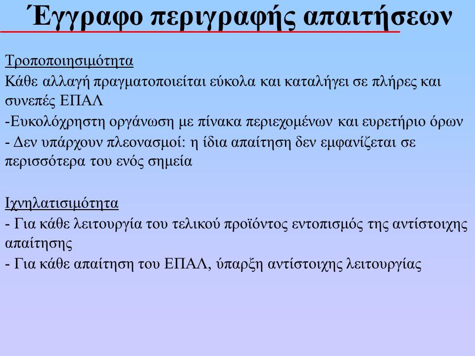 Έγγραφo απαιτήσεων Δυνατότητες Σύνταξης : Άτυπες Γλώσσες (Φυσική Γλώσσα) (Κατανοητότητα) Ημιτυπικές (Φυσ.Γλώσσα + Διαγράμματα + Συμβολισμούς) Τυπικές Γλώσσες (αυστηρή σύνταξη) (Σαφήνεια, Ελεγξιμότητα)
