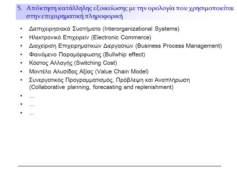 Διεπιχειρησιακά Συστήματα (Interorganizational Systems) Ηλεκτρονικό Επιχειρείν (Electronic Commerce) Διαχείριση Επιχειρηματικών Διεργασιών (Business Process Management) Φαινόμενο Παραμόρφωσης (Bullwhip effect) Κόστος Αλλαγής (Switching Cost) Μοντέλο Αλυσίδας Αξίας (Value Chain Model) Συνεργατικός Προγραμματισμός, Πρόβλεψη και Αναπλήρωση (Collaborative planning, forecasting and replenishment)...