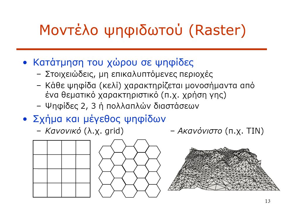 13 Μοντέλο ψηφιδωτού (Raster) Κατάτμηση του χώρου σε ψηφίδες –Στοιχειώδεις, μη επικαλυπτόμενες περιοχές –Κάθε ψηφίδα (κελί) χαρακτηρίζεται μονοσήμαντα από ένα θεματικό χαρακτηριστικό (π.χ.