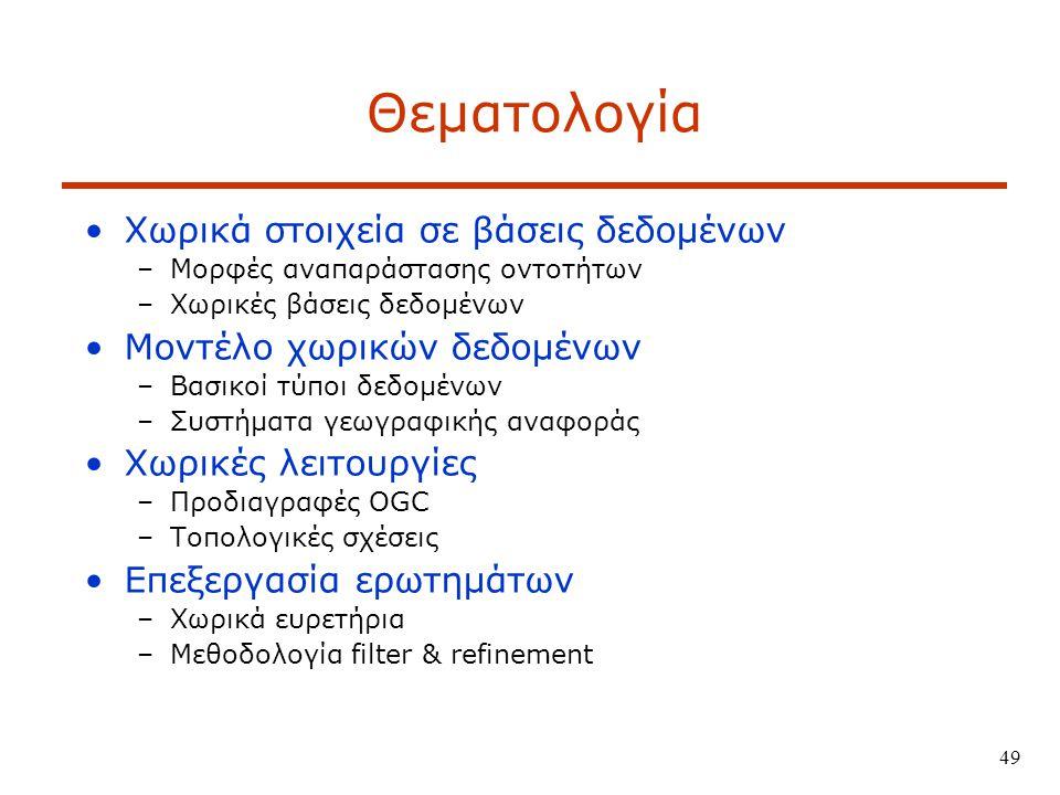 49 Θεματολογία Χωρικά στοιχεία σε βάσεις δεδομένων –Μορφές αναπαράστασης οντοτήτων –Χωρικές βάσεις δεδομένων Μοντέλο χωρικών δεδομένων –Βασικοί τύποι δεδομένων –Συστήματα γεωγραφικής αναφοράς Χωρικές λειτουργίες –Προδιαγραφές OGC –Τοπολογικές σχέσεις Επεξεργασία ερωτημάτων –Χωρικά ευρετήρια –Μεθοδολογία filter & refinement