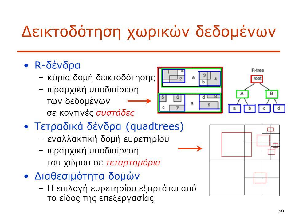 56 Δεικτοδότηση χωρικών δεδομένων R-δένδρα –κύρια δομή δεικτοδότησης –ιεραρχική υποδιαίρεση των δεδομένων σε κοντινές συστάδες Τετραδικά δένδρα (quadtrees) –εναλλακτική δομή ευρετηρίου –ιεραρχική υποδιαίρεση του χώρου σε τεταρτημόρια Διαθεσιμότητα δομών –Η επιλογή ευρετηρίου εξαρτάται από το είδος της επεξεργασίας