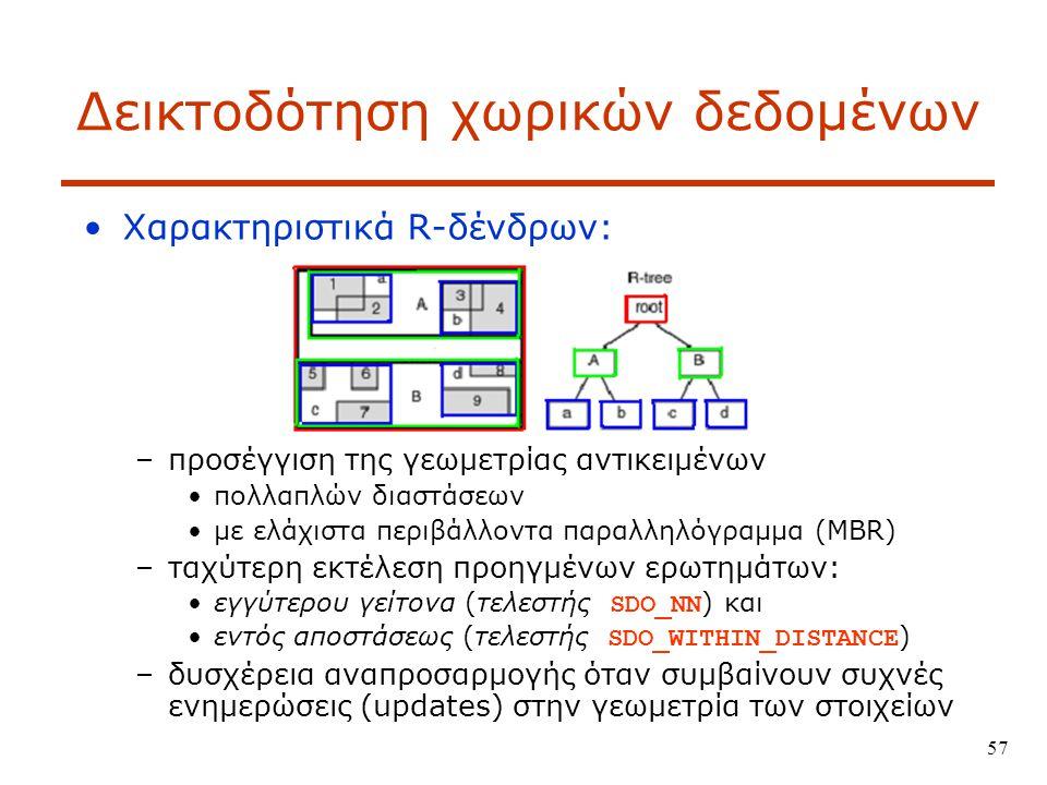 57 Δεικτοδότηση χωρικών δεδομένων Χαρακτηριστικά R-δένδρων: –προσέγγιση της γεωμετρίας αντικειμένων πολλαπλών διαστάσεων με ελάχιστα περιβάλλοντα παραλληλόγραμμα (MBR) –ταχύτερη εκτέλεση προηγμένων ερωτημάτων: εγγύτερου γείτονα (τελεστής SDO_NN ) και εντός αποστάσεως (τελεστής SDO_WITHIN_DISTANCE ) –δυσχέρεια αναπροσαρμογής όταν συμβαίνουν συχνές ενημερώσεις (updates) στην γεωμετρία των στοιχείων