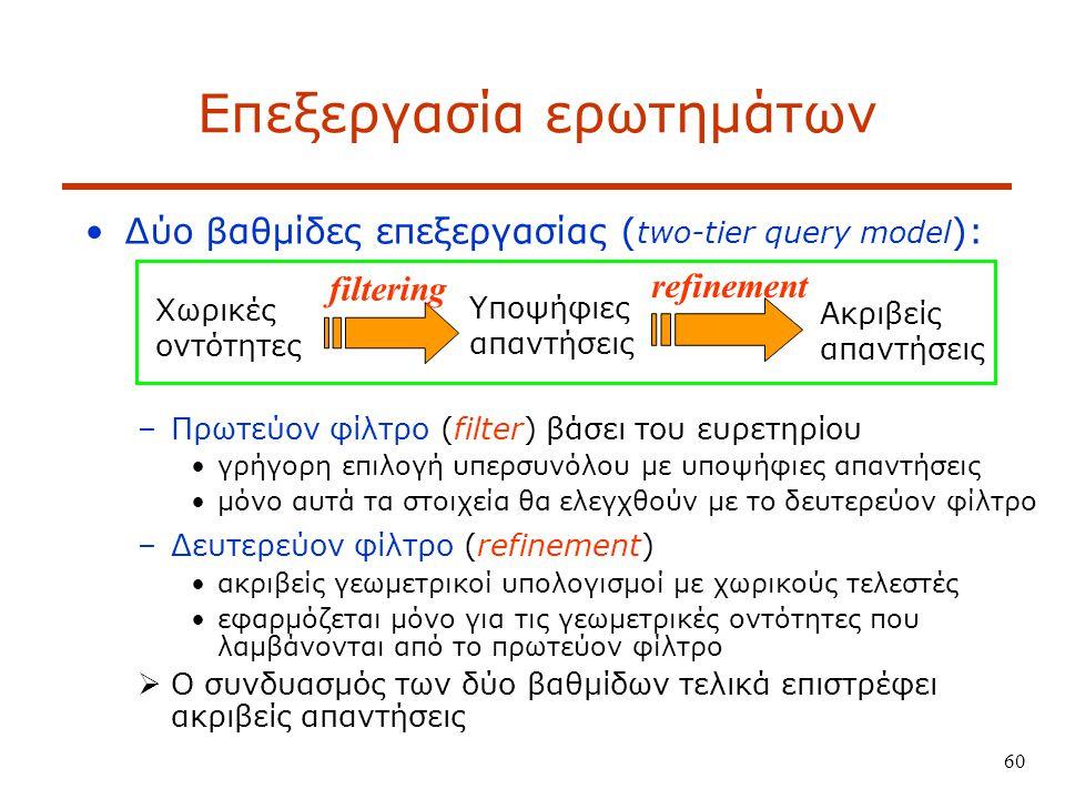 60 Επεξεργασία ερωτημάτων Δύο βαθμίδες επεξεργασίας ( two-tier query model ): –Πρωτεύον φίλτρο (filter) βάσει του ευρετηρίου γρήγορη επιλογή υπερσυνόλου με υποψήφιες απαντήσεις μόνο αυτά τα στοιχεία θα ελεγχθούν με το δευτερεύον φίλτρο –Δευτερεύον φίλτρο (refinement) ακριβείς γεωμετρικοί υπολογισμοί με χωρικούς τελεστές εφαρμόζεται μόνο για τις γεωμετρικές οντότητες που λαμβάνονται από το πρωτεύον φίλτρο  Ο συνδυασμός των δύο βαθμίδων τελικά επιστρέφει ακριβείς απαντήσεις filtering Ακριβείς απαντήσεις refinement Υποψήφιες απαντήσεις Χωρικές οντότητες