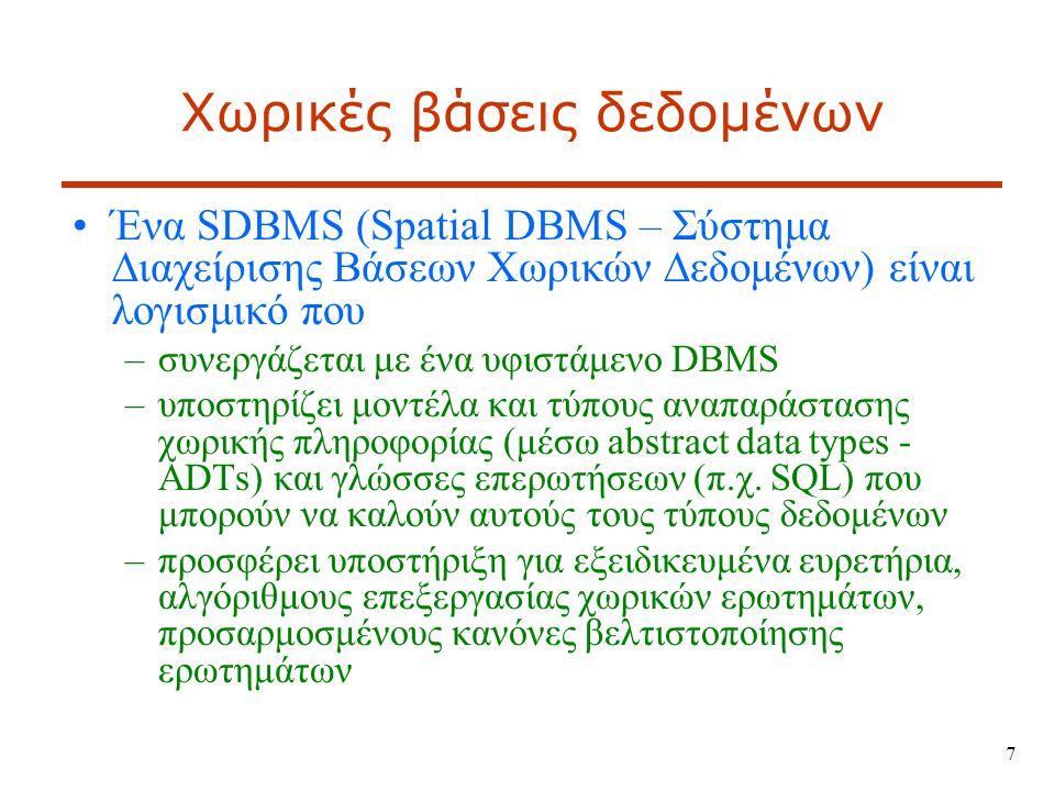 18 Χωρικά στοιχεία σε βάσεις δεδομένων Εμπορικά συστήματα με χωρικές επεκτάσεις –Oracle Spatial –IBM DB2 Spatial Extender + Geodetic Management Feature –IBM Informix Spatial DataBlade + Geodetic DataBlade –Microsoft SQL Server –ESRI ArcSDE middleware  ArcGIS Server αποθήκευση στοιχείων σε Oracle, PostgreSQL, IBM DB2, Informix, MS-SQL Server, κ.ά.