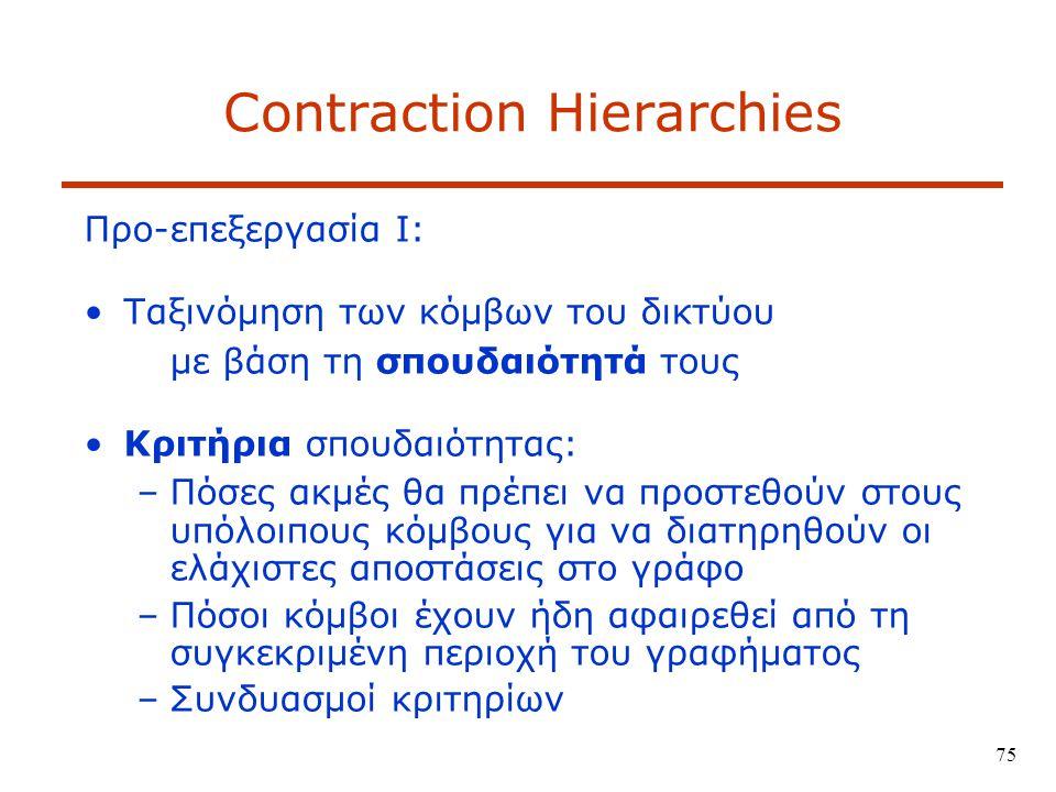 75 Contraction Hierarchies Προ-επεξεργασία Ι: Ταξινόμηση των κόμβων του δικτύου με βάση τη σπουδαιότητά τους Κριτήρια σπουδαιότητας: –Πόσες ακμές θα πρέπει να προστεθούν στους υπόλοιπους κόμβους για να διατηρηθούν οι ελάχιστες αποστάσεις στο γράφο –Πόσοι κόμβοι έχουν ήδη αφαιρεθεί από τη συγκεκριμένη περιοχή του γραφήματος –Συνδυασμοί κριτηρίων