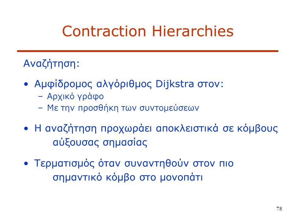 78 Contraction Hierarchies Αναζήτηση: Αμφίδρομος αλγόριθμος Dijkstra στον: –Αρχικό γράφο –Με την προσθήκη των συντομεύσεων Η αναζήτηση προχωράει αποκλειστικά σε κόμβους αύξουσας σημασίας Τερματισμός όταν συναντηθούν στον πιο σημαντικό κόμβο στο μονοπάτι